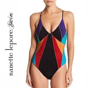 Nanette Lepore Serengeti Faux Suede Swimsuit NWT